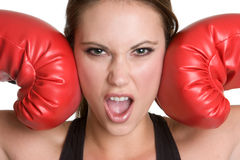 Angry Boxing Woman. Young angry boxing woman closeup Royalty Free Stock Photos