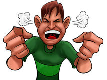 Angry boy. A guy too angry with green shirts Royalty Free Stock Photo