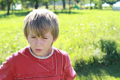 Angry boy. Little boy in red t-shirt being angry royalty free stock photo