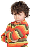 Angry boy. On a over white background stock images