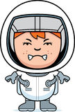 Angry Boy Astronaut. A cartoon illustration of a boy astronaut looking angry Royalty Free Stock Photo