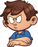 Angry boy. Angry cartoon boy. Vector clip art illustration with simple gradients. All in a single layer Stock Images