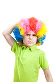 The angry boy in a colorful wig. Portrait of angry boy in a colorful wig, isolated on white background Royalty Free Stock Photography