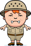 Angry Boy Explorer. A cartoon illustration of a boy explorer looking angry Royalty Free Stock Photo