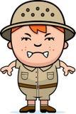Angry Boy Explorer. A cartoon illustration of a boy explorer looking angry royalty free illustration