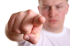 Angry boy with finger. To you Royalty Free Stock Photo