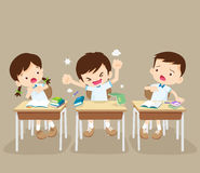 Angry boy and friends in classroom Royalty Free Stock Photo