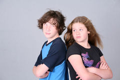 Angry boy and girl Stock Photography