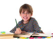 Angry boy hates learning Stock Photo