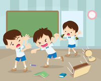 Angry boy hitting him friend. Little angry boy shouting and hitting.Quarreling kids in classroom royalty free illustration
