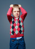 Angry boy isolated Stock Images