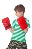 Angry boy pugilist Stock Image