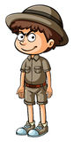 Angry boy in safari clothes Royalty Free Stock Image
