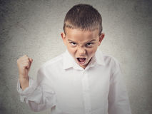 Angry boy screaming, demanding something. Closeup Portrait Angry child, Boy Screaming fist up in air, demanding justice, his rights isolated grey wall background royalty free stock image
