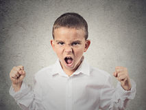 Angry boy screaming, demanding something. Closeup Portrait Angry child, Boy Screaming fists up in air, demanding justice, his rights isolated grey wall Stock Photo