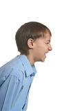 Angry boy screaming. On a white background Royalty Free Stock Photo