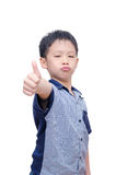 Angry boy showing thumb up Royalty Free Stock Image
