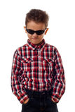 Angry boy with sunglasses Stock Photo