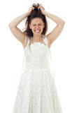 Angry bride. Portrait of angry bride pulling her hair Royalty Free Stock Images