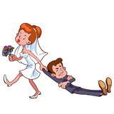 Angry bride drags the groom  to get married. On a white background Stock Photo