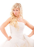 Angry bride in expectation of groom Royalty Free Stock Photos