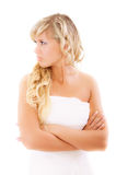 Angry bride in expectation of groom Stock Photo