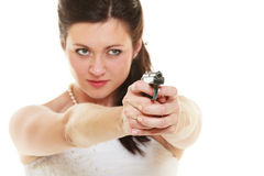 Angry bride with gun isolated on white. Stock Photos