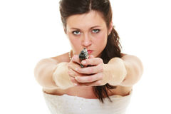 Angry bride with gun isolated on white. Royalty Free Stock Image