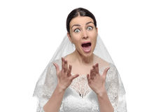 Angry bride isolated. Royalty Free Stock Photos