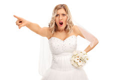 Angry bride pointing with her finger Stock Image