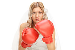 Angry bride with red boxing gloves Stock Photo
