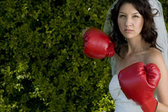Angry bride in a wedding dress and boxing gloves. Royalty Free Stock Photos