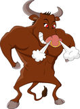 Angry brown bull cartoon Royalty Free Stock Images