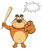 Angry Brown Bulldog Cartoon Mascot Character Holding A Bat And Pointing Royalty Free Stock Photography