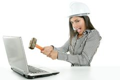 Angry brunette businesswoman with hammer Royalty Free Stock Photo