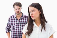 Angry brunette not listening to her boyfriend Royalty Free Stock Images