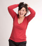 Angry brunette pulling her hair Royalty Free Stock Photo