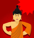 Angry Buddha in pop art style. Indian god wrathful. Supreme teac Stock Images