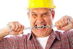 Angry builder Stock Image