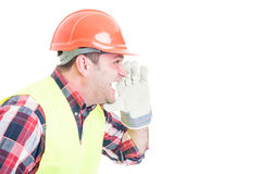 Angry builder or constructor  yelling at somebody Stock Photography