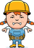 Angry Builder Girl Royalty Free Stock Images