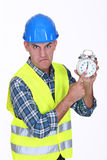 Angry builder Royalty Free Stock Photo