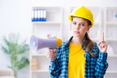 The angry building supervisor with megaphone Royalty Free Stock Photos