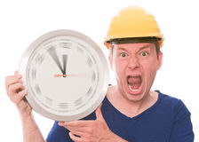 Angry building time (spinning watch hands version) Royalty Free Stock Photo