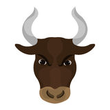 Angry bull face with big horns Royalty Free Stock Image