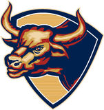 Angry Bull Head Crest Retro. Illustration of an angry raging bull head facing to side set inside crest shield done in retro style Stock Image