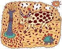 Angry bull and hedgehog Stock Image