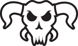 Angry bull skull with large horns. Bull skull with angry eyes and large horns. Smaller horns near the mouth. Jagged teeth. No lower jaw. Outlined. Black and Vector Illustration