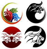 Angry bull. Symbol set with isolated white background Royalty Free Stock Image