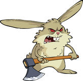 Angry bunny. With an ax vector Royalty Free Stock Images